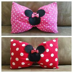 Personalized Minnie Mouse Bow Pillow, Pink Minnie Mouse Pillow, Minnie Mouse Birthday gift, Minnie Mouse bedroom, Red Minnie Mouse Pillow – Knitting And Crochet Bow Pillows, Sewing Pillows, Cute Pillows, Red Minnie Mouse, Pink Minnie, Disney Crafts, Disney Diy, Sewing Crafts, Sewing Projects