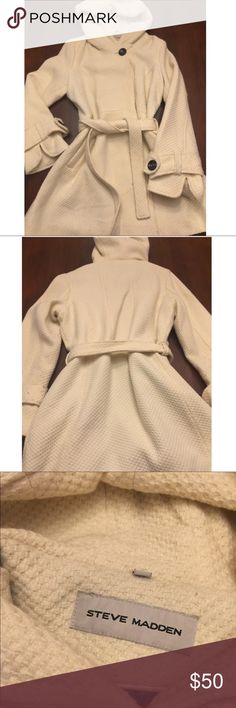 Steve Madden - Wool Blend Coat w/ Hood Used - good condition w/ some pilling. No stains or tears. Single breasted wool blend w/ hood. Skirted w/ self belt. Color: White/Cream Steve Madden Jackets & Coats