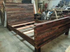 Queen size bed I handcrafted with heart pine 2 x 4's I salvaged from a 130 year old home!