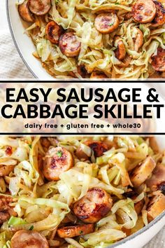 Easy Sausage & Cabbage Skillet - Tender sautéed cabbage and sausage together create a remarkably simple meal in under 30 minutes! Sauteed Cabbage, Chicken And Cabbage, Cooked Cabbage, Meals With Cabbage, Whole 30 Recipes, Pork Recipes, Cooking Recipes, Healthy Recipes, Smoked Sausage Recipes