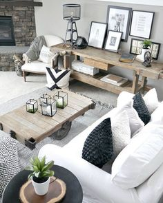 You have to see this #farmhouse living room decor idea with repurposed industrial rustic furniture. Love it! #RusticDecor #HomeDecorIdeas