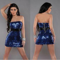 robe paillette bleue