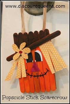 Fall crafts To Make - Popsicle Stick Scarecrow Craft Thanksgiving Crafts, Autumn Crafts, Halloween Crafts For Kids, Crafts For Kids To Make, Holiday Crafts, Kids Crafts, Craft Projects, Winter Craft, Craft Ideas