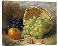 Buy Feng Shui Wall Art Painting An Upturned Basket of Grapes, An Apple and Other Fruit