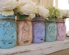 Set of 5 Pint Easter Mason Jars Ball jars by RusticGlamDesigns