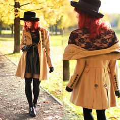 Leather, lace & military coat (by Wioletta Mary Kate) http://lookbook.nu/look/4138986-Leather-lace-military-coat