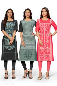 Checkout this latest Kurtis Product Name: *Trendy Women's Kurti* Fabric: Crepe Sleeve Length: Short Sleeves Pattern: Printed Combo of: Combo of 3 Sizes: S (Bust Size: 36 in, Size Length: 44 in)  M (Bust Size: 38 in, Size Length: 44 in)  L (Bust Size: 40 in, Size Length: 44 in)  XL (Bust Size: 42 in, Size Length: 44 in)  XXL (Bust Size: 44 in, Size Length: 44 in)  Country of Origin: India Easy Returns Available In Case Of Any Issue   Catalog Rating: ★4 (370)  Catalog Name: Kashvi Petite Kurtis CatalogID_1942455 C74-SC1001 Code: 945-10606171-1851