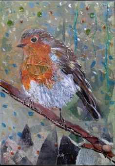 ARTFINDER: Robin in the woods by Fiona Plaisted - I started this little robin canvas about year ago and found him again at the back of the shelf. Really glad I finished painting and collaging him as they are...