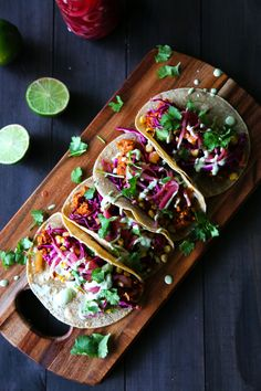 Jackfruit Tacos with Charred Core, Cabbage, and Lime Creme