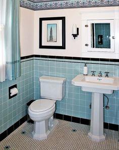 Blue Tile Bathroom: 40 Retro Blue Bathroom Tile Ideas And Pictures 1920s Bathroom, Art Deco Bathroom, Bathroom Tile Designs, Vintage Bathrooms, Bathroom Floor Tiles, Small Bathroom, Bathroom Ideas, Blue Bathrooms, Bathroom Sinks