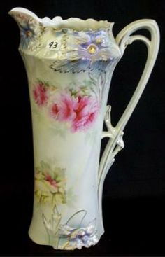 An R.S. Prussia Carnation mold tankard having roses decor and satin finish. circa 1880-1920