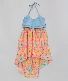 Loving this Blue & Coral Butterfly Halter Dress - Toddler & Girls on #zulily! #zulilyfinds