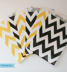 8fa535cc611a5 Chevron Striped Favor Bags Yellow and Black by swankypress
