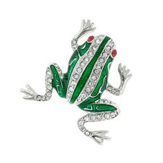 """Frog Pin with Crystals - Now here is one stylish amphibian!  Available in rhodium (non-tarnishing) or gold plate.  Just under 1"""" long.  