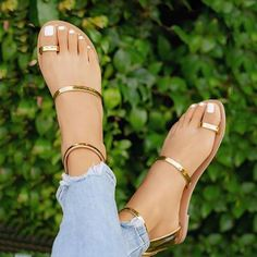 Buy Ring-Toe Gold Classy Flats at best price from Street Style Stalk Shoes Flats Sandals, Flat Sandals, Women's Shoes, Toe Ring Sandals, Flat Mules, Strappy Flats, Heeled Sandals, Golf Shoes, Homecoming Shoes