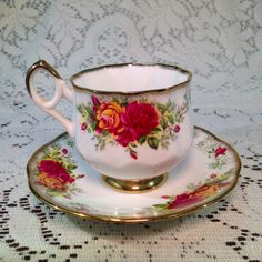 Vintage English Tea Cup and Saucer with Pink and Yellow Roses