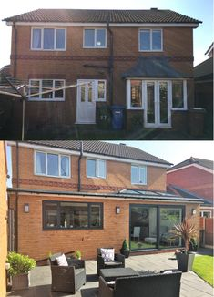 Before & After Single Storey Extension - Before & Afters Home Extensions and Conversions - architectural style House Extension Plans, House Extension Design, Extension Designs, Roof Extension, Extension Ideas, Bungalow Extensions, House Extensions, Kitchen Extensions, Kitchen Extension Before And After