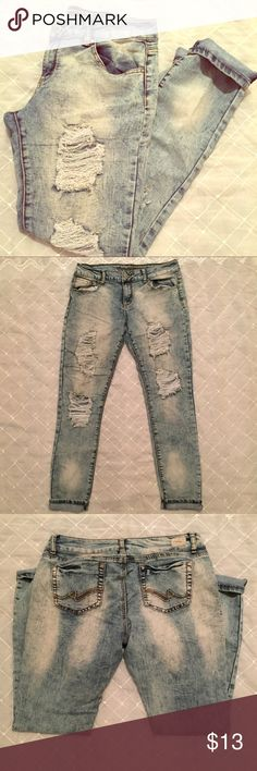 Distressed Denim by Almost Famous Size 11 juniors stylish distressed denim by Almost Famous. Excellent condition. Only ☝️ more item for 15% off Almost Famous Jeans Boyfriend