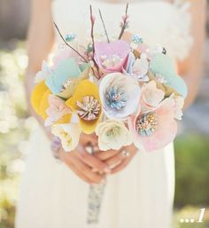paper flower bouquet. I love the concept but wasn't game to try it for my wedding.