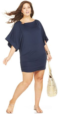 b8561644bc9db MICHAEL Michael Kors Plus Size Logo Banded Cover Up - Swimwear - Plus Sizes  - Macy's