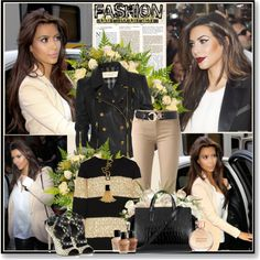"""Kim Kardashian in beige"" by glitterbaby77 on Polyvore"