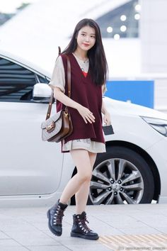 Korean Airport Fashion, Korean Girl Fashion, Fashion Idol, Kpop Fashion Outfits, Korean Outfits, Asian Fashion, Casual Outfits, Kpop Mode, Look Cool