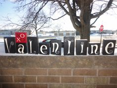 VALENTINE DeCorR HaNd PaInTeD WoOd BlOcKs by DAWNSPAINTING on Etsy, $39.95