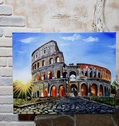 Watercolor Painting Techniques, Acrylic Painting Canvas, Watercolor Paintings, Disney Canvas Art, Mini Canvas Art, Italian Paintings, Country Paintings, Watercolor Architecture, Architecture Art