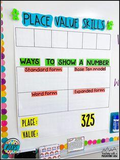 2nd Grade Class, Fourth Grade Math, Grade 2, Second Grade, Teaching Place Values, Teaching Math, Teaching Ideas, Math Vocabulary, Math 5