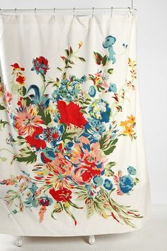 Vintage floral shower curtain... would look great on my Rotator Rod rotating, curved shower curtain rod!
