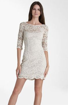 JS Collections Boatneck Lace Overlay Sheath Dress available at #Nordstrom