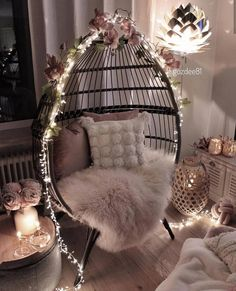 Pretty bedroom decor with light chair Cute Bedroom Decor, Bedroom Decor For Teen Girls, Girl Bedroom Designs, Room Ideas Bedroom, Stylish Bedroom, Teen Room Decor, Pretty Bedroom, Teen Bedroom, Romantic Room Decoration