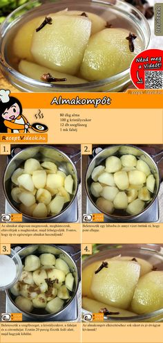 Apple compote recipe with video - delicious winter recipes - Sweet apple compote for dessert – a dream! You can easily find the apple compote recipe video usi - Baby Food Recipes, Fall Recipes, Sweet Recipes, Snack Recipes, Apple Compote Recipe, Good Food, Yummy Food, Hungarian Recipes, Sweet Desserts