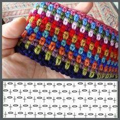 "Красивые плотные узоры крючком в вашу копилочку✋☀☀☀ ""crochet moss (granite stitch) I like it with all the colors."", ""Moss stitch - one double, one chain"