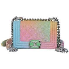 Super Rare Chanel MICRO Rainbow Cuba Boy Handbag '17 Crossbody NEW ($4,485) ❤ liked on Polyvore featuring bags, handbags, shoulder bags, chanel, chanel purse, cross body, chanel crossbody, crossbody handbags and handbags cross body