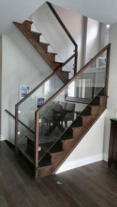 Modern Staircase Design Ideas - Browse images of modern stairs as well as uncover design and format ideas to influence your very own modern staircase remodel, consisting of one-of-a-kind barriers as well as storage . Glass Stairs Design, Stair Railing Design, Home Stairs Design, Stair Handrail, Staircase Railings, Interior Stairs, Glass Stair Railing, Bannister, Metal Stairs