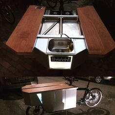 WWW.CYKELKOKKEN.DK Custom made bicycle-kitchen. Build as a module for the Bullitt cargo-bike. Food Truck Design, Food Design, Coffee Carts, Coffee Shop, Bullitt Cargo Bike, Bicycle Cafe, Bike Cart, Velo Cargo, Bike Food
