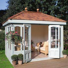 Malvern Ashton x garden shed diy Milford Cedar Summer House Backyard Studio, Backyard Sheds, Backyard Patio, Pool Shed, Backyard Office, Outdoor Sheds, Backyard Retreat, Shed Design, Garden Design