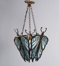 Vienna (attributed) 'Butterflies' ceiling light, c1912. Bronze, patina, opal blue glass. Not signed. (hva)