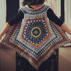 Mandala vest crochet jacket, crochet poncho, crochet granny, crochet ve Black Crochet Dress, Crochet Coat, Crochet Jacket, Crochet Cardigan, Crochet Shawl, Crochet Clothes, Crochet Granny, Crochet Vests, Crochet Vest Pattern