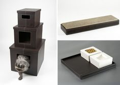 Kattentoren: kattenbak op de eerste, hangplek op de tweede, en opbergplek voor speeltjes e.d. op de derde