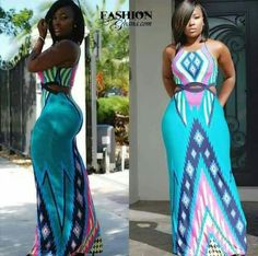 New 2015 Women Summer Dress Novelty Sky Blue Pink Patchwork Print Casual Long Dress Sexy Cutout Backless Maxi Dress Club Dresses, Sexy Dresses, Summer Dresses, Summer Maxi, Long Dresses, Summer Clothes, African Attire, African Dress, African Women