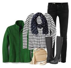 """Green and Black"" by mygirlyarmour ❤ liked on Polyvore featuring AG Adriano Goldschmied, J.Crew, Scotch & Soda, Børn, women's clothing, women's fashion, women, female, woman and misses"