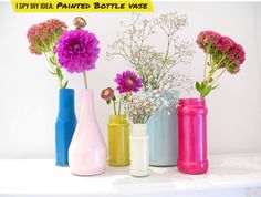 I Spy DIY: HOME INSPIRATION | Painted Bottle Vase - I have some jars that would work beautifully! Now to buy printer/paint...