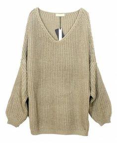 Grey V Neckline Long Batwing Sleeves Knitwear