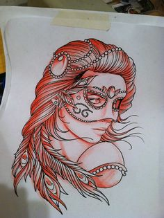 Masquerade girl. Tattoo flash/ idea.
