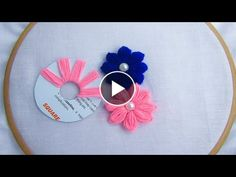 Diy Crafts - Knitting Embroidery Videos and Lessons Hand Embroidery Letters, Hand Embroidery Patterns Flowers, Hand Embroidery Videos, Embroidery Stitches Tutorial, Hand Embroidery Designs, Making Fabric Flowers, Yarn Flowers, Crochet Flowers, Flower Making