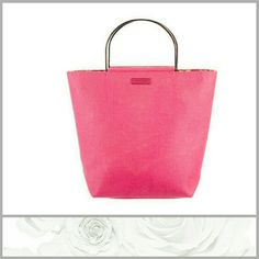 """Kate Spade Pink Lunen Kate Spade """"palmbeach pink linen"""" woven and canvas bag with silver tone hardware dual metal handles floral print woven lining 4 pockets at interior walls and single pocket with zip closure . Bag handle drop 3.75 inches height 10.75 inches width 12.5 inches depth 4.5 inches. kate spade Bags Totes"""