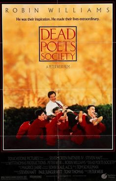 Dead Poets Society Directed by Peter Weir. With Robin Williams, Robert Sean Leonard, Ethan Hawke, Josh Charles. English teacher John Keating inspires his students to look at poetry with a different perspective of authentic knowledge and feelings. Josh Charles, Robert Sean Leonard, Dead Poets Society Movie, Robin Williams Movies, Peter Weir, Patch Adams, Films Hd, Touchstone Pictures, Der Club