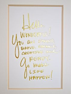 Hello Wonderful Handwriting Desk Card // Gold Foil